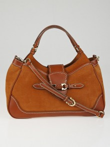 Salvatore Ferragamo Brown Nubuck and Leather Erin Two-Tone Hobo Bag