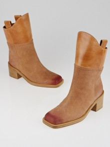 Chanel Brown Suede and Leather Paris-Dallas Short Boots Size 5.5/36