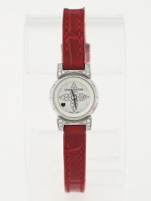 Louis Vuitton 18mm Red Alligator and Diamonds Tambour Bijou Infiniti Ladies Watch