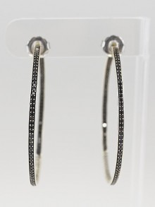 David Yurman Sterling Silver and Black Diamond Sculpted Cable XL Hoop Earrings