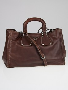 Prada Nocciolo Soft Calfskin Leather Shopping Tote Bag BN1889