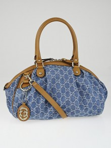 Gucci Blue Denim GG Denim Sukey Medium Boston Bag