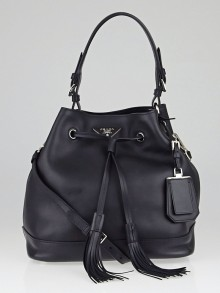 Prada Black City Calf Leather Bucket Bag BR5069