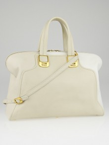 Fendi Beige/White Leather Chameleon Large Tote Bag 8BL110