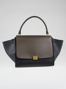 Celine Navy Blue/Grey Leather Large Trapeze Bag