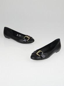Louis Vuitton Black Leather Buckle Ballerina Flats Size 7.5/38