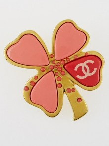 Chanel Goldtone/Pink Enamel CC Four-Leaf Clover Brooch