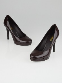 Yves Saint Laurent Prune Patent Leather Platform Pumps Size 8/38.5