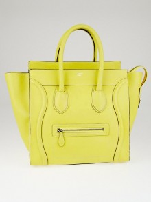 Celine Citron Drummed Leather Mini Luggage Tote Bag