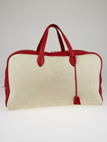 Hermes 50cm Toile and Rouge Clemence Leather Victoria Travel Bag