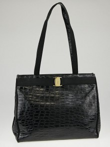 Salvatore Ferragamo Black Crocodile Embossed Leather Vara Tote Bag