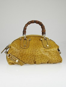 Gucci Yellow Ostrich Leather Pop Bamboo Top Handle Bag