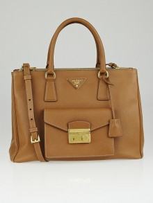 Prada Caramel Saffiano Lux Leather Pocket Tote Bag BN2674