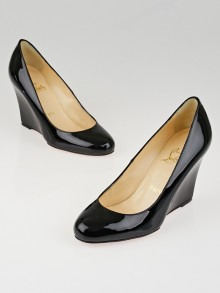 Christian Louboutin Black Patent Leather Ron Ron Zeppa 80 Wedges Size 5/35.5