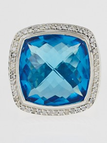 David Yurman 20mm Hampton Blue Topaz and Diamond Albion Ring Size 6