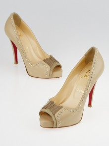 Christian Louboutin Beige Leather Studded Discuta 120 Peep Toe Pumps Size 6.5/37