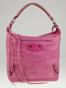 Balenciaga Magenta Lambskin Leather Day Bag