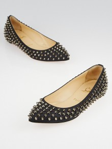 Christian Louboutin Anthracite Flannel Pigalle Spikes Flats Size 6/36.5
