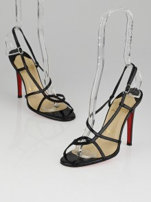 Christian Louboutin Black Patent Leather Strappy Slingback Sandals Size 5.5/36