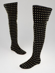 Christian Louboutin Black Suede Don Jon Studded Over the Knee Flat Boots Size 7.5/38
