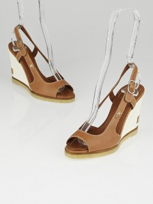Chanel Brown Leather Slingback Wedges Size 5.5/36