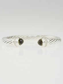 David Yurman 7mm Sterling Silver and Lemon Citrine with Diamonds Cable Classics Bracelet
