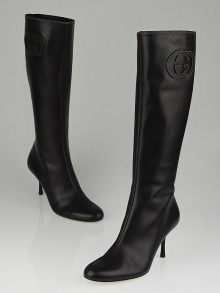 Gucci Black Leather GG Tall High-Heel Boots Size 8.5
