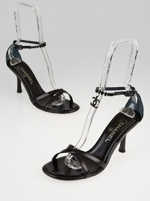 Chanel Black Leather Strappy Crystal CC Sandals Size 10/40.5