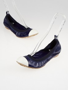Chanel Navy Blue Patent Leather Elastic Ballet Flats Size 9.5/40