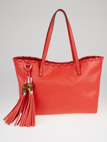 Gucci Red Pebbled Leather Bamboo Tassel Tote Bag