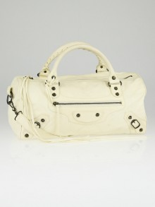 Balenciaga Ivory Chevre Leather Twiggy Motorcycle Bag