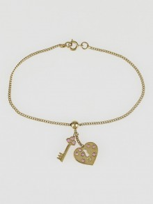 Chanel Goldtone Metal and Pink Crystal Lock & Key Charm Bracelet