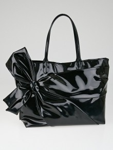 Valentino Black Coated Canvas Betty Bow Tote Bag