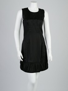 Burberry Black Rayon Quilted Detail Sleeveless Dress Size 10/44