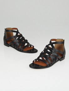 Givenchy Black Leather Gladiator Flat Sandals Size 5.5/36