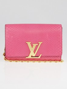 Louis Vuitton Pink Python Chain Louise Clutch Bag