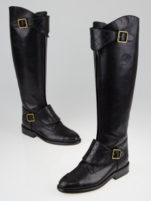 Chanel Black Leather Knee-High Flat Buckle Boots Size 5.5/36