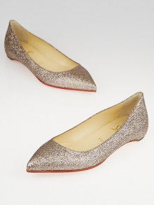 Christian Louboutin Multicolor Glitter-Covered Leather Pigalle Ballet Flats Size 6/36.5