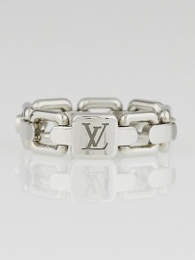 Louis Vuitton 18k White Gold Chain-Link Ring Size 6.75/54