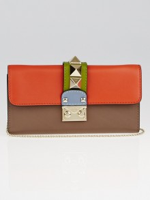Valentino Multicolor Leather Rockstud Glam Lock Chain Clutch Bag