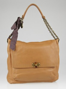 Lanvin Dark Beige Grained Chevre Leather Happy Large Bag