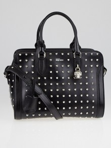 Alexander McQueen Black Studded Leather Small Skull Padlock Zip Satchel Bag