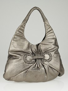Salvatore Ferragamo Pewter Leather Woven Hobo Bag