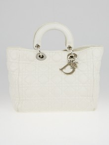 Christian Dior White Cannage Quilted Lambskin Soft Lady Dior Medium Tote Bag