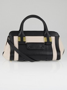 Chloe Black/Beige Leather Colorblock Small Alice Satchel Bag