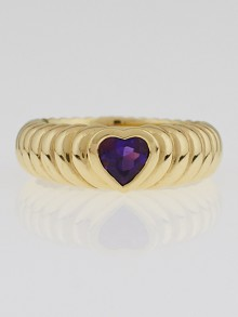 Tiffany & Co. 18k Gold and Amethyst Heart Love Ring Size 5.5