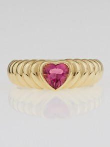 Tiffany & Co. 18k Gold and Pink Tourmaline Heart Love Ring Size 5.5
