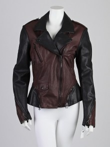 3.1 Phillip Lim Black/Chocolate Leather Two-Tone Contour Motor Cross Jacket Size 12