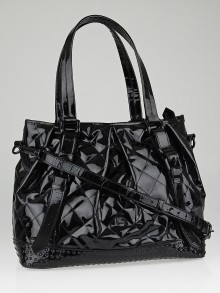 Burberry Black Quilted Patent Leather Large Tote Bag