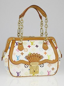 Louis Vuitton Limited Edition White Monogram Multicolore Gracie MM Bag